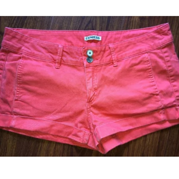 Express Pants - Women's EXPRESS Shorts 10 Khaki Coral Red Cuffed